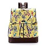 TIZORAX Blumen- und Vögel-Rucksack aus PU-Leder, modische Schultertasche, Reisetasche für Frauen und Mädchen
