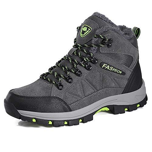 LiYa Wanderschuhe Trekking Schuhe Herren Damen Wasserdicht Winterschuhe Warm Gefüttert Winter Outdoor Boots Wander Stiefel, Grau, 42 EU