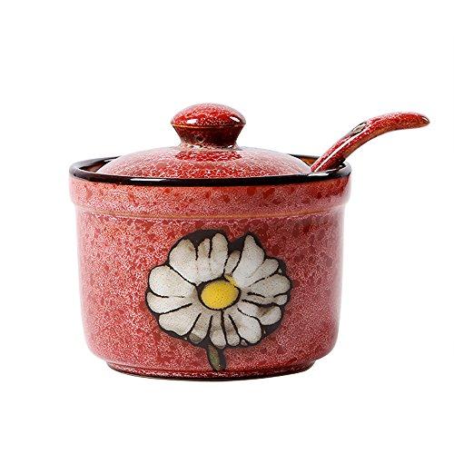 DoDola Ceramics Retro Flower Sugar Bowl with Lid and Spoon 5.5 Ounces Red