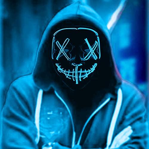 LED Mscaras Halloween, Purge Mask para Carnaval, Led Mascaras 3 Modos de Lluminacin, Adultos LED Mask para Fiestas de Disfraces, Navidad, Carnavales, Cosplay