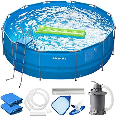 TecTake 800580 Piscina Desmontable, Swimming Pool, Tejido de PVC, Construcción Robusta, Fácil Montaje, Compacta - Disponible en Varios Modelos (Azul | Ø 450cm)
