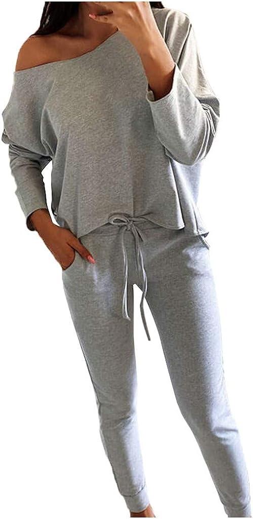 WUAI-Women Off Shoulder Two Piece Outfits Long Sleeve Crop Top Sweatpants Casual Jogger Sweatsuit Tracksuit Sets