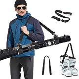 Odoland Porte Skis avec Sangle de Porte-Chaussures, Sangles de Ski Porte-Épaules Réglable Bandoulière de Ski, Système de Transport de Skis avec Crochet et Boucle rembourrés durables pour Ski Alpin