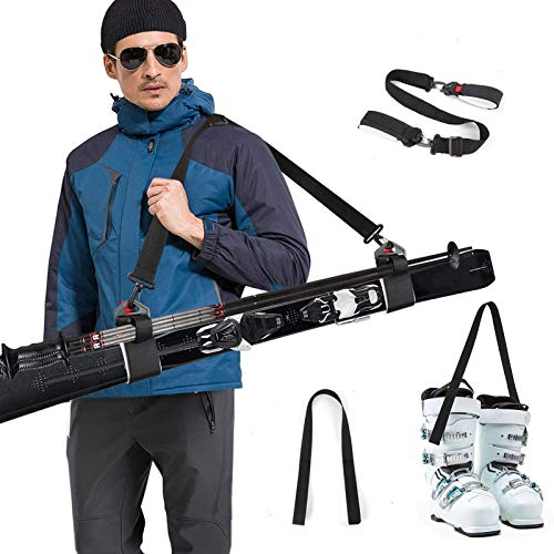 Odoland Ski Träger Skigurt 2 IN 1 Skibänder Ski Bands Einstellbar Tragegurt Ski Träger Gurte mit Verstellbaren Gepolsterten Schulter Gurten für Ski