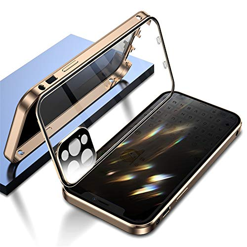 Double Safety Lock Anti-Peeping Case for iPhone 11 Pro Max Aluminium Bumper Case with Camera Lens Screen Protector Full Body Protection Metal Frame Clear Glass Cover (11ProMax, Gold)