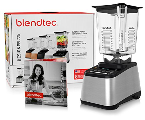 Blendtec Designer 725 Blender with BPA-Free WildSide Jar with Vented Gripper Lid + Blendtec Recipe Book and Starter Guide - Stainless Steel