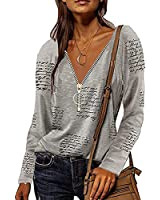 Women V Neck Casual Tops,Vintage Long Sleeve Tunic Blouses Loose Fit T-Shirt with Zipper-Gray-8X-Large