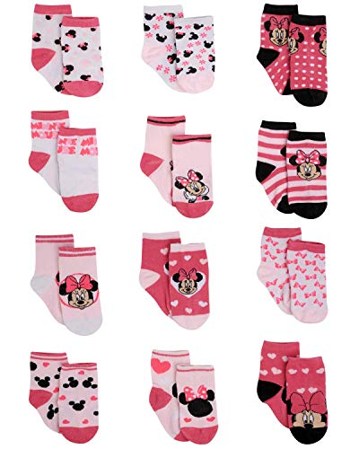 Disney Baby Girls' Socks - 12 Pack Minnie Mouse, Daisy, Disney Princess (Newborn/Infant), Minnie Pink/White/Black, Age 6-12M