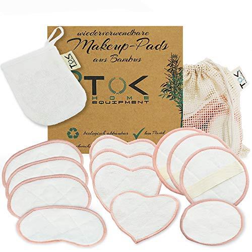 TOK® Abschminkpads waschbar, wiederverwendbar | 14 Teile | Bambus natur Wattepads umweltfreundlich mit Wäschesack | Abschminktücher plastikfrei | Makeup Entferner schonende Gesichtsreinigung - Rosa