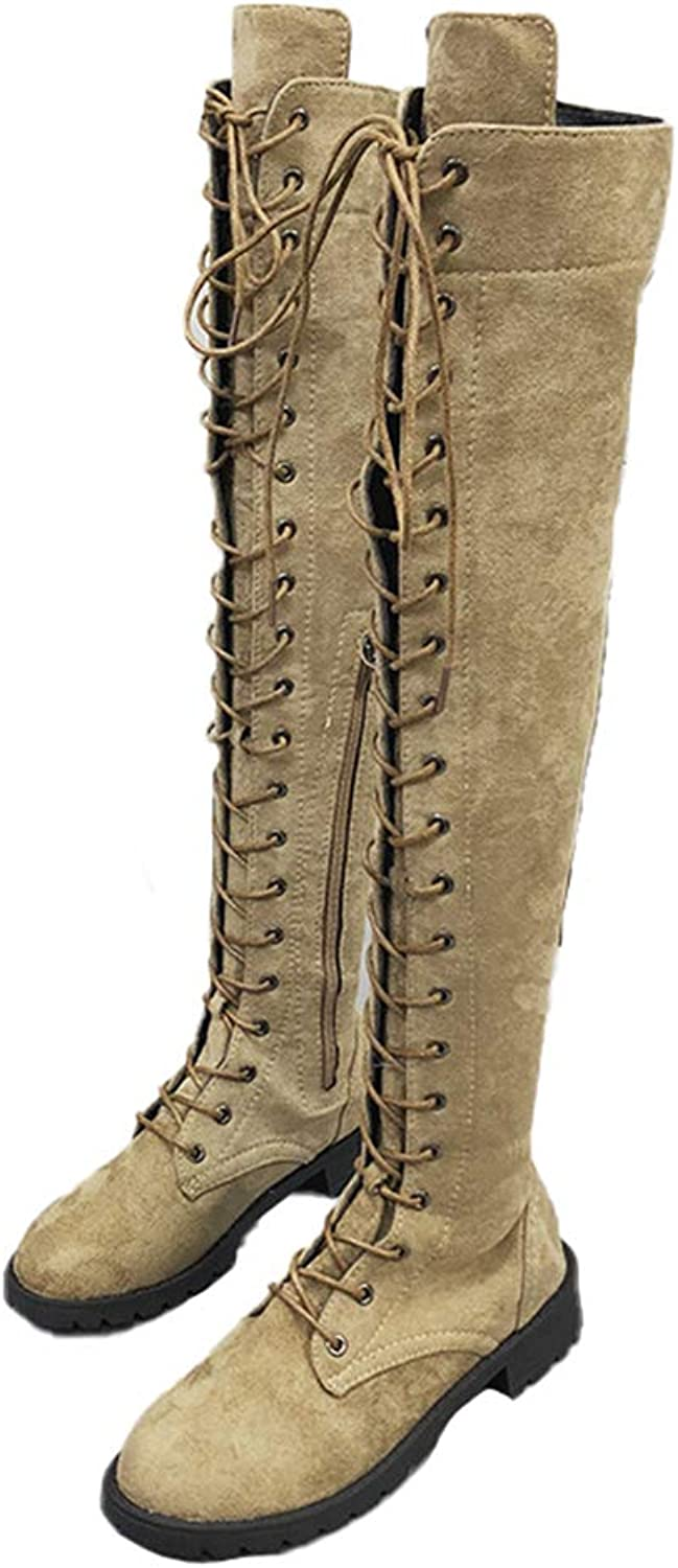 Women Over Knee Boots Sexy Lace Up Boots Flats shoes Square Heel Zipper Flock Winter Thigh High Boots