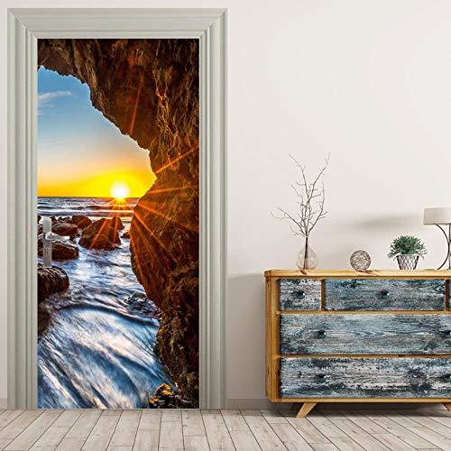 BXZGDJY 3D-deursticker, deur, fotohet-look, zelfklevend, deur, zelfklevend, 3D-deur-raam-behang, verwijderbare deur-decoratie-plakfolie voor doe-het-zelf interieur 95X215CM