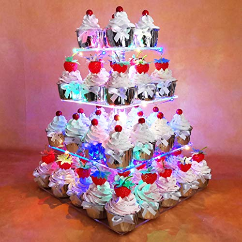 Hexnub 4 Tier Acrylic Cupcake Stand Light up Cake and Dessert Square Display Serving Tower with LED Lights for Wedding Party Birthday Baby Shower - Multicolored