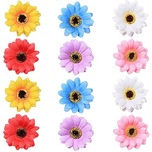 Nifocc Horquillas multicolor para el pelo con diseño de girasol, simulación de flores, para mujeres, niñas, playa, fiesta, boda, decoración, 6 colores, 12 unidades