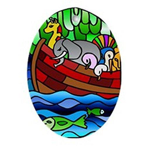 BridgetWhy50 Arche de Noé en Verre teinté Ovale de Noël en céramique, décorations de Noël, Fantaisie, Souvenir
