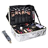 MONSTINA Cosmetic Bags 3 Layer Cosmetic Organizer Makeup Case Beauty Artist Storage Brush Box with Shoulder Strap… (Large, White)