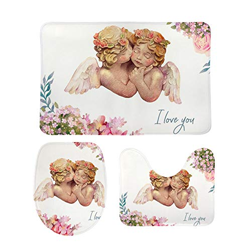Kuizee Bath Rugs Set 3 Piece Cute Watercolor Angels Cherub Non-Slip Mat U-Shaped Contour Rug O-Shaped Toilet Lid Cover Coral Velvet