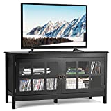 Tangkula TV Stand, Modern Wood Large Wide Entertainment Center for TV up to 50', Living Room Media Console Cabinet Stand with 2 Doors (Black)
