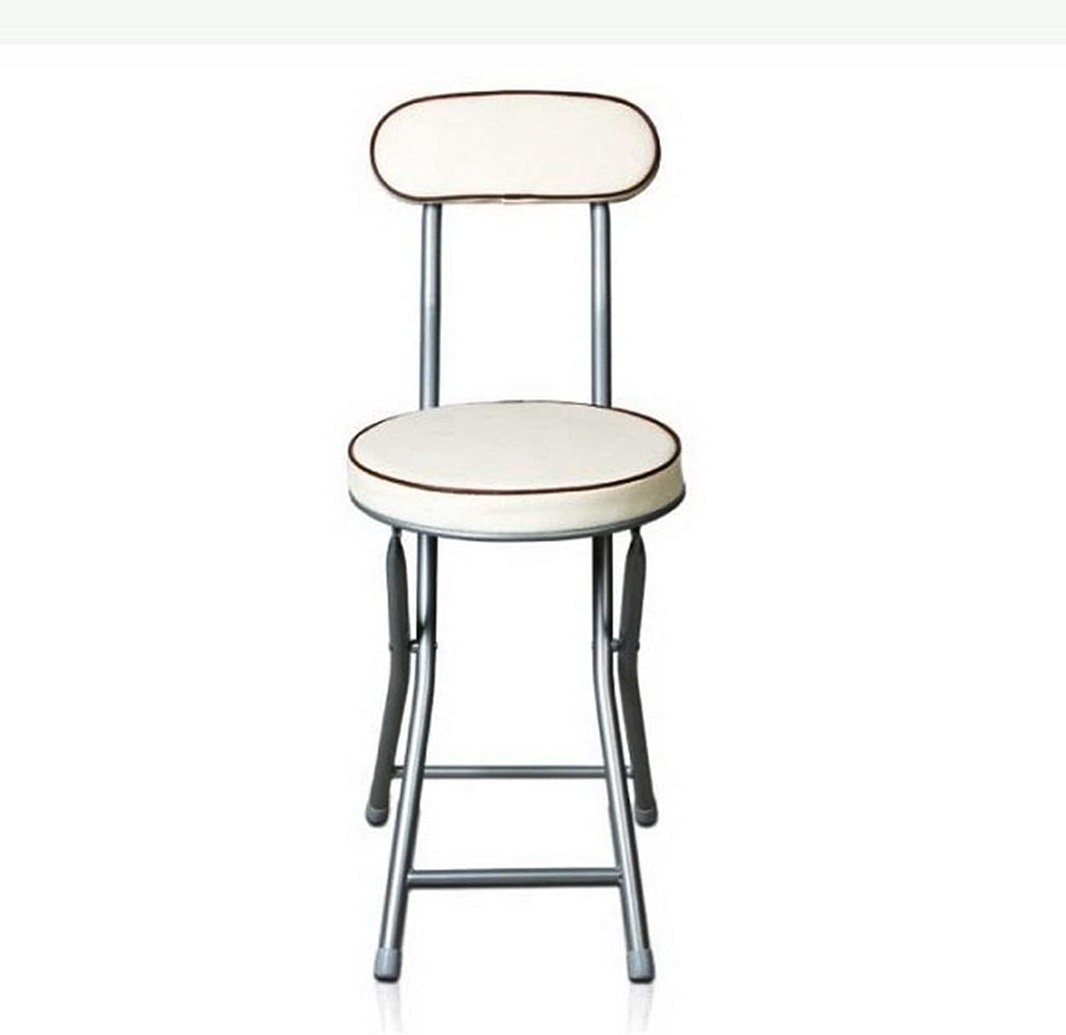 Shower Seat, Steel Pipe with Backrest Folding Chair, Elderly Bathroom Shower Simple Stool (color   White)