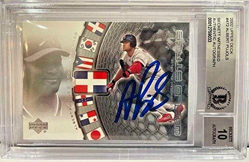 Albert Pujols 2002 Upper Deck #472 Signed Card BAS Rookie Grade 10 - Baseball Slabbed Autographed Cards