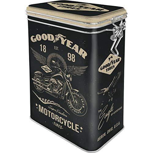 Nostalgic-Art Retro Kaffeedose Goodyear – Motorcycle – Geschenk-Idee für Auto-und Motorrad-Fans, Blech-Dose mit Aromadeckel, Vintage Design, 1,3 l