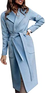 Dunacifa Women's Wool Wrap Flare Coat and Toggle Neck Closure Trench Coats Winter Coat with Belt