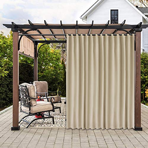 SHEEROOM Indoor/Outdoor Sticky Tap Top Blackout Curtains for Patio