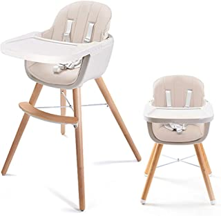 HUIHUOZI Exquisite Goods Baby Highchair 3 in 1 Solid Wood Modern Household Children's Dining Chair Table with Cushion Infa...