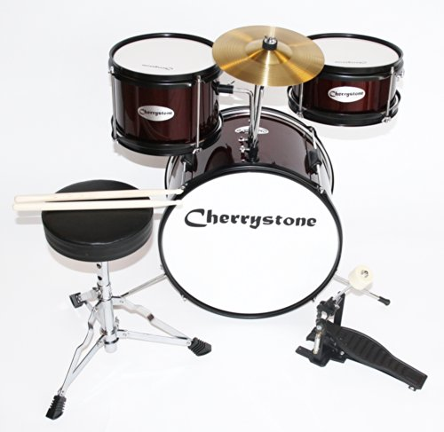 Cherrystone 0754235504528 Kinderschlagzeug Komplettset weinrot/metallic