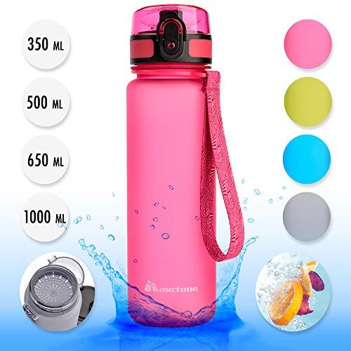 Meteor Bottiglia Acqua Senza BPA Borraccia per Bambini Adolescenti e Adulti Ideale per Bici Sportivo Campeggio Scuola Ufficio Palestra Plastica Tritan Diverse Dimensioni e Colori (350ml, Rosa)