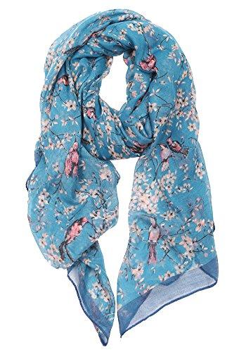 Ladies Women's Fashion Bird Print Long Scarves Floral Neck Scarf Shawl Wrap (Blue) Bird Print
