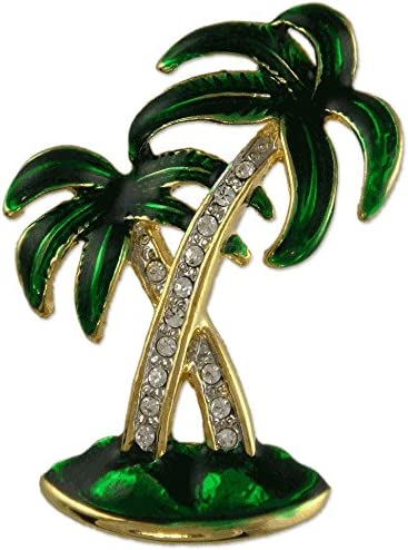 Gold Plated Crystal Green Palm Tree Brooch PIN Made with Swarovski Elements