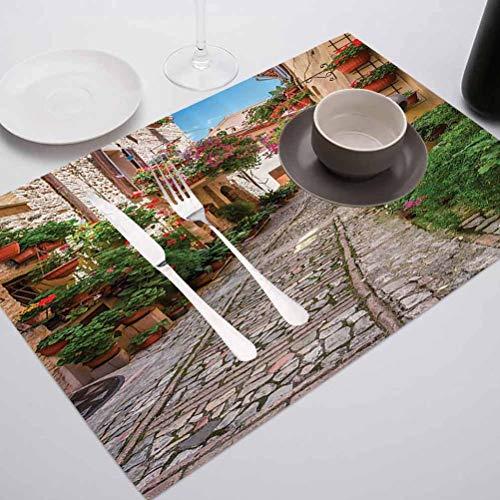 FloraGrantnan Lot de 4 sets de table rectangulaires lavables et réutilisables Motif Toscane Méditerranée