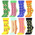 Women's Girls Novelty Funny Crew Socks,Crazy Cute Animal Food Design Socks Cotton,Girl's Gift
