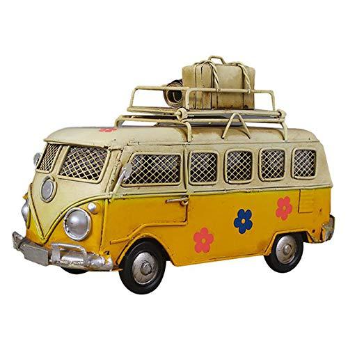 Creative Hierro Piggy Bank Vintage Bus Forma De Autobús Caja De Monedas Nostalgic Memoria De La Infancia Metal Regalo Decoración para El Hogar para Niños Niños,Amarillo