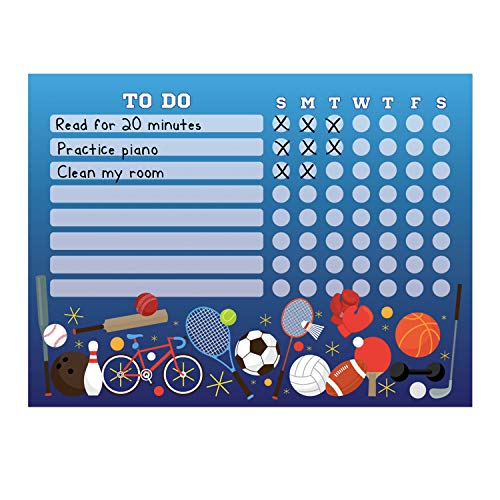 """Kid's Dry Erase Whiteboard Chore Chart  Removeable and Restickable Adhesive Decal  Fine-Tip Magnetic Marker Included  9"""" x 12"""" Sports"""