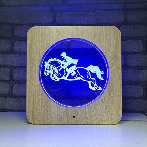 Illusion LED Lampe 3D Cadre photo en bois acrylique avec illumination d'optique en couleur 7 couleurs Veilleuse à DEL avec télécommande éteinte et écran tactile pour table de bureau avec câble USB et