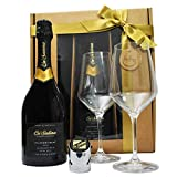 Premium Ca'Salina Rive Prosecco Superiore Valdobbiadene Extra Brut (Very Dry) Gift Set including 2 Branded Glasses and Prosecco Stopper