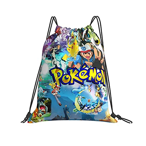 Pokémon Turnbeutel Kordelzug Tasche Sport Reisetasche Wasserabweisend Leichter Rucksack für Herren Damen
