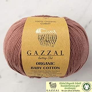 5 Ball (Pack) Gazzal Organic Baby Cotton Yarn, Total 8.8 Oz. 100% Organic Cotton, Each 1.76 Oz (50g) / 125 Yrds (115 m), 3 Light DK, Brown - 433