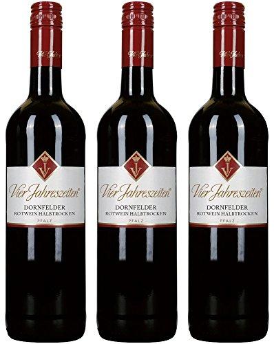 Vier Jahreszeiten Dornfelder 2018 Rotwein halbtrocken 3 Flaschen a 0,75 L