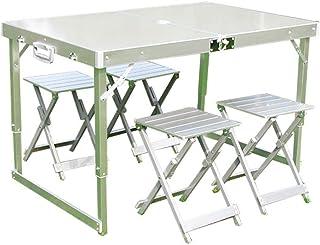 高品質版 アルミ製 軽量 折り畳み式 キャンプ BBQ テーブル 1個&椅子 5点セット アウトドア テーブル