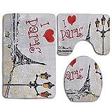 N\A Retro Street Heart Paris Torre Eiffel Alfombra de baño Set 3PCS Alfombra de baño Antideslizante Contorno, tapete y Tapa de Inodoro