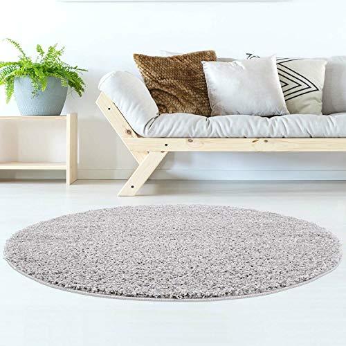 Hochflor Teppich | Shaggy Teppich fürs Wohnzimmer Modern & Flauschig | Läufer für Schlafzimmer, Esszimmer, Flur und Kinderzimmer | Langflor Carpet grau 120x120 cm rund