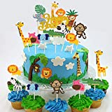 DIYASY 36 Pcs Safari Cake Topper,1 Pcs Jungle Animals Happy Birthday Cake Topper and 35 Pcs Animal Cupcake Toppers for Kids Safari Party Decorations