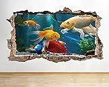 Pegatinas de pared Peces acuario natación calcomanía de pared rota pegatinas de arte habitación de vinilo - 3D - Poster-50x70cm