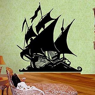 JIAYOUHUO Barco Pirata de Dibujos Animados Etiqueta de la Pared Vinilo Barco Pirata Ron Isla del Tesoro Pared para habitación de niños niña niño decoración de la habitación 36x38cm