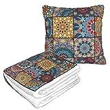 Manta de almohada de terciopelo suave 2 en 1 con bolsa suave Boho Tile Set de fundas de almohada para el hogar, avión, coche, viajes, películas