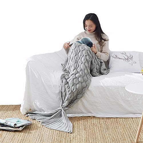 Ancoree Mermaid Tail Blanket for Adults Kids Cashmere-Like Knit Throw Blanket All Seasons Sleeping Blanket Bag,Plain Fish Scale Design Snuggle Blanket,Best Gifts for Girls,Women (Gray, 90x195cm)