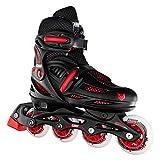 Crazy Skates Adjustable Inline Skates for Boys - Beginner Kids Roller Blades - Black with Red (Small...
