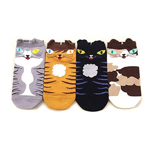 UTOVME Damen Maedchen Stricken Socken Baumwolle Weihnachten schicke Damensocken mit Kartoon Muster 4 Paare Mehrfarbig (6206#)